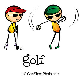 Stickmen playing golf - Illustration of the stickmen playing...