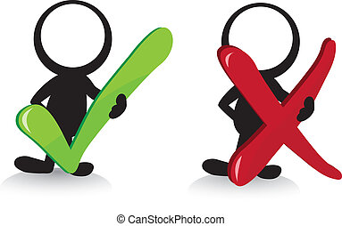 stickmen tick and cross - stickmen holding a green tick and...