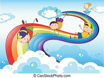 stickmen, tocando, com, arco-íris