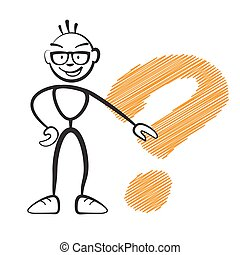 Stickmen with questionmark sign, vector drawing on white...