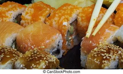 Sticks Take Sushi from Sushi Box - Sticks Take Sushi from...