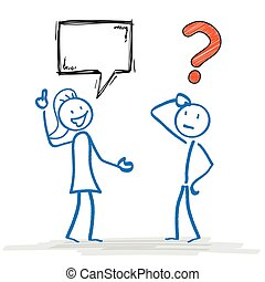Female and male stickman with communication problem.