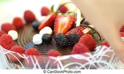 sticky chocolate cake strawberries