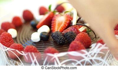 sticky chocolate cake strawberries