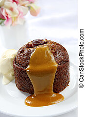 Sticky Date Pudding - Sticky date pudding with caramel sauce...