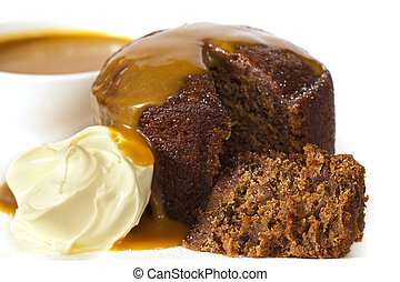 Sticky Date Pudding - Sticky date pudding topped with...