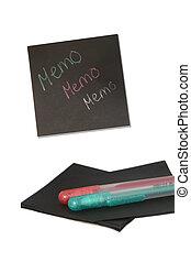 sticky memo - color pen on black sticky notes
