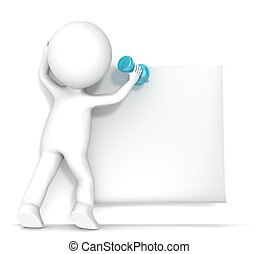 3D little human character attaching a Sticky Note with a Pushpin. Blank For Copy Space. People series.
