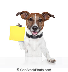sticky note banner dog yellow