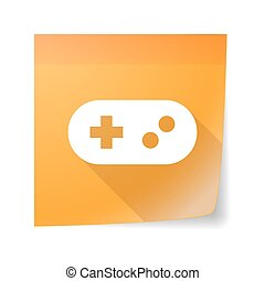 Sticky note icon with a game pad
