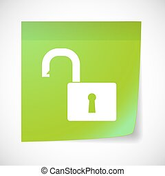 Sticky note icon with a lock pad