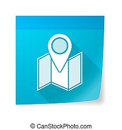 Sticky note icon with a map