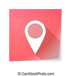 Sticky note icon with a map mark