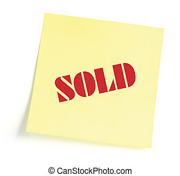 Sticky note indicating item is sold