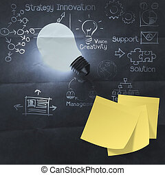sticky note on light bulb 3d and  business strategy crumpled paper background