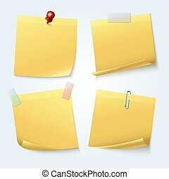 Sticky note pages, yellow papers vector set