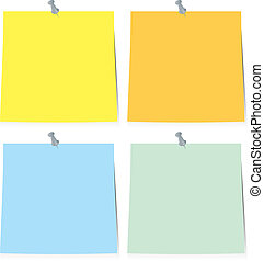 sticky note paper - A illustrated collection of four sticky...