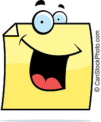 Sticky Note Smiling - A cartoon sticky note smiling and...