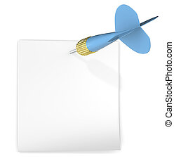 Sticky Note. - White sticky note attached with blue dart ...