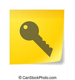 Sticky note with a key