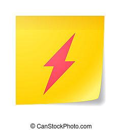 Sticky note with a lightning