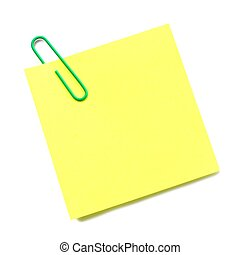 Sticky note with green paper clip isolated on white - Blank...
