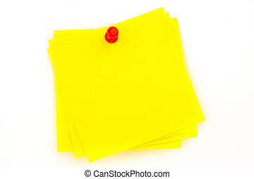 Sticky note with red pushpin