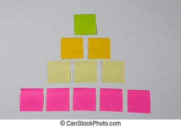 Sticky notes arranged on white background