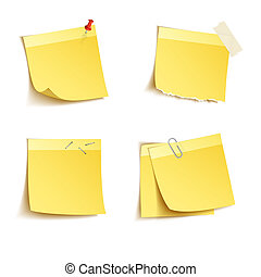 Sticky notes - Yellow sticky notes with push pin and clip...