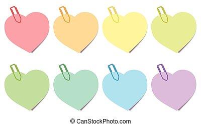 Sticky Notes Hearts Colors - Sticky notes - heart shaped...