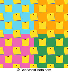 sticky notes memo yellow Seamless pattern set on colors backgrounds. Flat Illustration