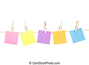 sticky notes on a clothes line - Sticky notes on a clothes...