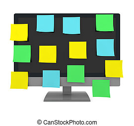 sticky notes on a monitor