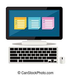 Sticky notes on desktop. Reminder application.