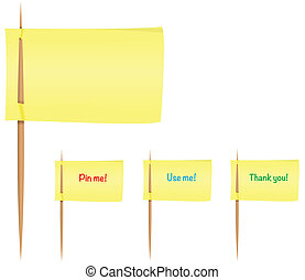 Yellow post-it notes on toothpicks like flag. Vector illustration