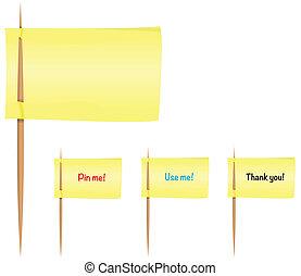 Sticky notes on toothpicks