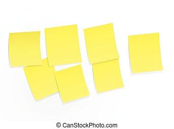 Sticky notes on white board