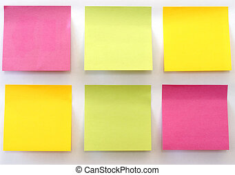 Sticky Notes - Six multicolored sticky notes stuck on a ...