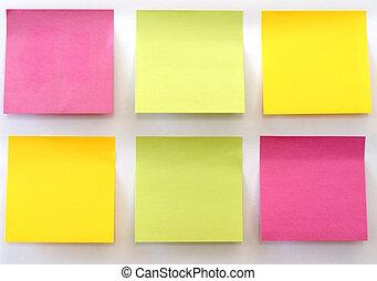 Sticky Notes - Six multicolored sticky notes stuck on a...
