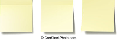 Sticky notes - Three realistic post it notes on white wall. ...