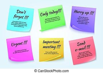 Sticky notes, urgent paper memo vector set