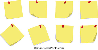 Sticky Notes with PIns - A set of 8 yellow sticky notes with...
