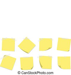 A set of 8 yellow sticky notes with adhesive tapes on a white background. Editable vector illustration.
