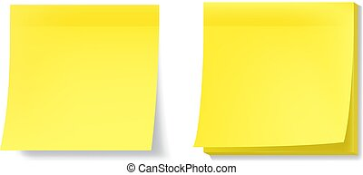 Yellow sticky notes with realistic effects. EPS10 vector.