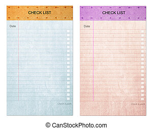 Sticky pad check list form on note old paper