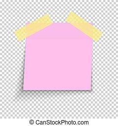 Sticky Paper Note on Transparent Background  Vector Illustration