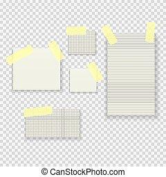 Sticky Paper Notes Pack Collection Set on Transparent Background  Vector Illustration
