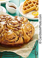 Sticky pecan buns on breakfast table - Sticky pecan buns on...