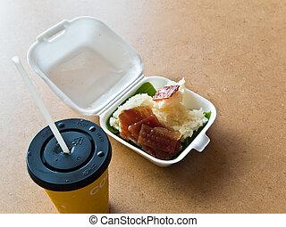 Sticky rice and Roast pork in foam box