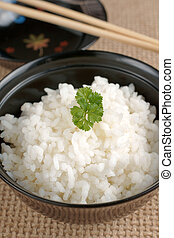 Sticky rice - Japanese style sticky rice in a lacquer bowl